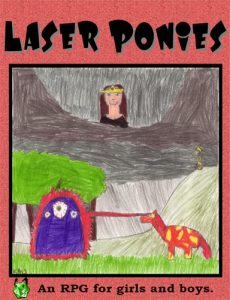 Actual cover for Laser Ponies (drawn by an 8-year-old girl)